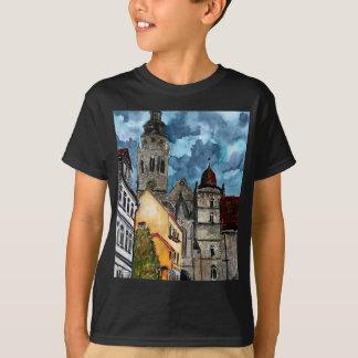 コブルクドイツ城および教会水彩画の芸術 Tシャツ