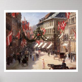 コペンハーゲンデンマークのヴィンテージ旅行旗の日 ポスター