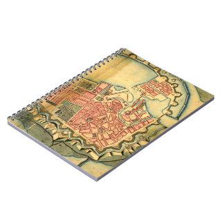 コペンハーゲンデンマーク(1728年)のヴィンテージの地図 ノートブック