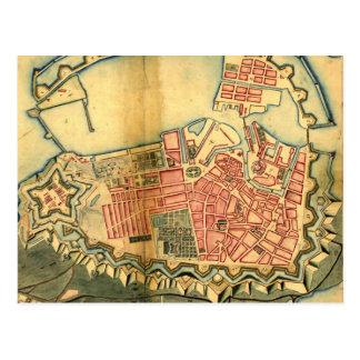 コペンハーゲンデンマーク(1728年)のヴィンテージの地図 ポストカード