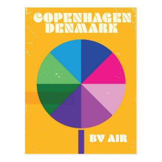 コペンハーゲン、デンマークのヴィンテージ旅行ポスター ポストカード