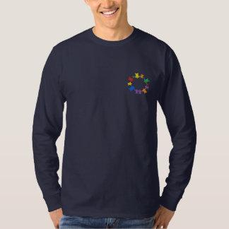 コミュニティは一周します(Dk) 刺繍入り長袖Tシャツ