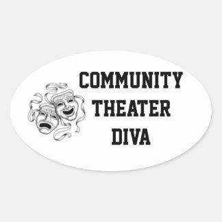 コミュニティ劇場の花型女性歌手のステッカー 楕円形シール