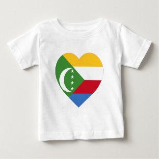 コモロの旗のハート ベビーTシャツ