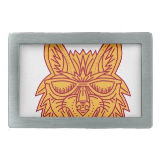 コヨーテのヘッドサングラスの微笑のモノラルライン 長方形ベルトバックル