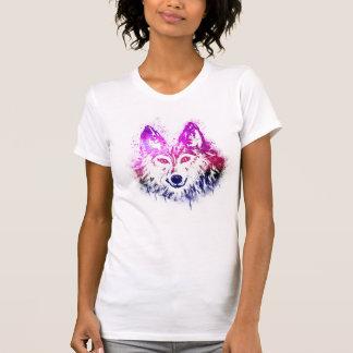 コヨーテ|のオオカミの芸術|のペンキのしぶき|のピンクの紫色 Tシャツ