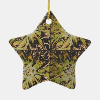 コラージュのダリアの花模様 陶器製星型オーナメント