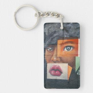 コラージュの顔Keychain キーホルダー