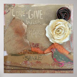 コラージュ愛は、引用文|ポスターを与えましたり、望みましたり、共有します ポスター