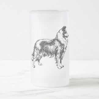 コリー荒い犬の線画のガラスマグ、ギフト フロストグラスビールジョッキ