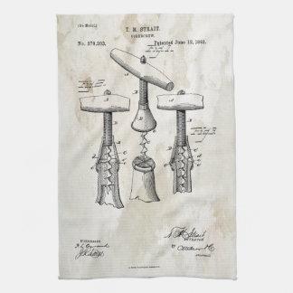 コルクせん抜きのパテントのプリント1883年のタオル キッチンタオル