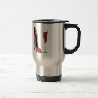 コルクせん抜きの赤い小剣およびシャンペンガラスの芸術 トラベルマグ