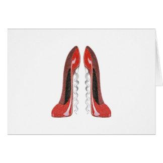 コルクせん抜きの赤い小剣の靴 カード