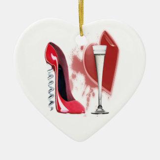 コルクせん抜きの赤い小剣の靴、シャンペンフルートおよびH セラミックオーナメント