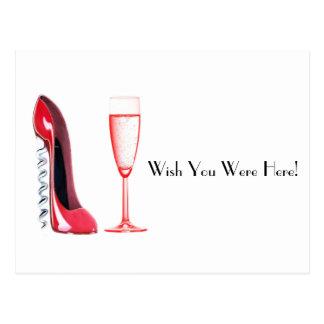コルクせん抜きの靴およびシャンペンガラス ポストカード