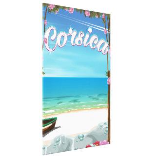 コルシカのビーチ旅行ポスター キャンバスプリント