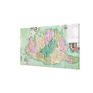 コルシカ1768年の軍の地図 キャンバスプリント