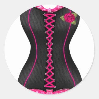 コルセットの黒いピンクのバラ ラウンドシール