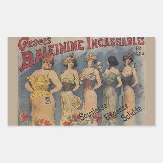 コルセットのBaleinine Incassablesのフランス人のヴィンテージ 長方形シール