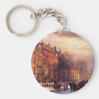 コルネリス著アムステルダムのHeerengrachtの眺め キーホルダー