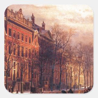 コルネリス著アムステルダムのHeerengrachtの眺め スクエアシール