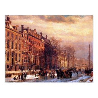 コルネリス著アムステルダムのHeerengrachtの眺め ポストカード