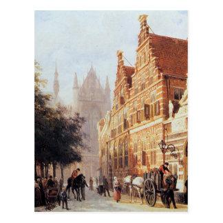 コルネリス著ライデンのKerkegracht en Weeshuis ポストカード