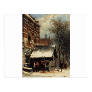 コルネリス著冬のCulemborgの鍛治場 ポストカード