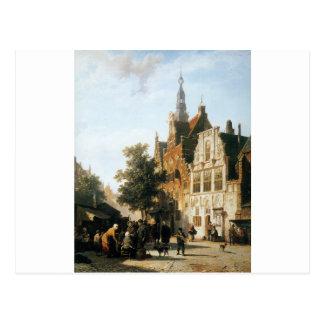 コルネリス著cityhall WoerdenとのMarketview ポストカード
