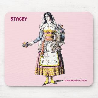 コルフ島の若い女性はSTACEYの~のために~Personalised マウスパッド