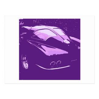 コルベットのクラシックな割れた窓の紫色のポップアート ポストカード