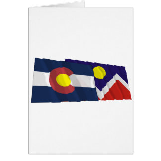 コロラド州およびデンバーの旗 カード
