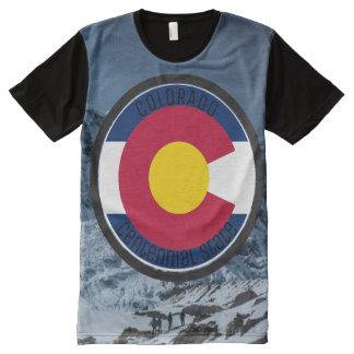 コロラド州の回状の旗 オールオーバープリントT シャツ