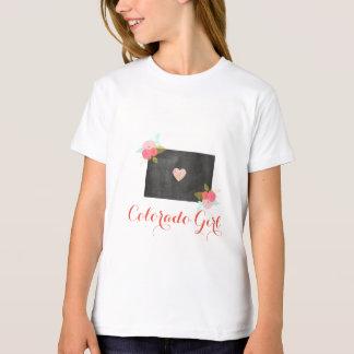 コロラド州の女の子のシックな花柄及び移動可能なハート Tシャツ
