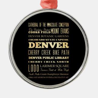 コロラド州の州のタイポグラフィの芸術のデンバー都市 メタルオーナメント
