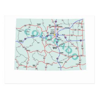 コロラド州の州連帯の地図の郵便はがき ポストカード