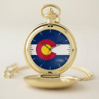 コロラド州の旗が付いている愛国心が強い壊中時計 ポケットウォッチ