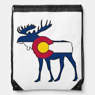 コロラド州の旗のアメリカヘラジカのドローストリングバッグ ナップサック