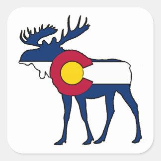 コロラド州の旗のアメリカヘラジカの正方形のステッカーのラベル スクエアシール