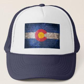 コロラド州の旗のグランジなレンガ壁の帽子 キャップ
