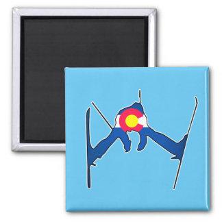 コロラド州の旗のスキーヤーの正方形の磁石 マグネット