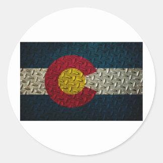 コロラド州の旗のダイヤモンドのプレート ラウンドシール