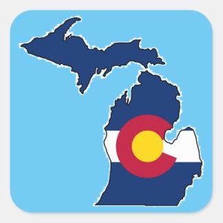 コロラド州の旗のミシガン州の輪郭の正方形のステッカー スクエアシール