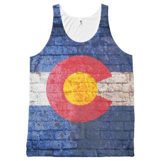 コロラド州の旗のレンガ壁のグランジなワイシャツ オールオーバープリントタンクトップ