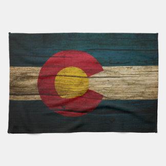 コロラド州の旗の素朴で古い木 キッチンタオル