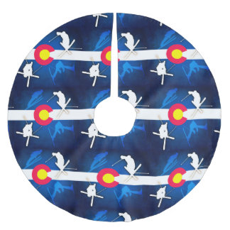 コロラド州の旗のgruneのスキーヤーの休日の木のスカート ブラッシュドポリエステルツリースカート