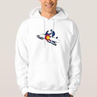 コロラド州の旗のsnowmobilerのフード付きスウェットシャツ パーカ