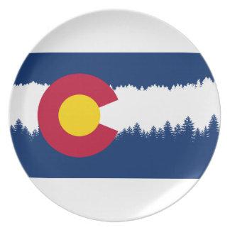 コロラド州の旗のTreelineのシルエット プレート