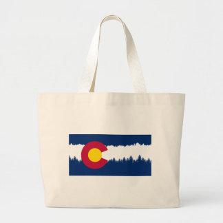 コロラド州の旗のTreelineのシルエット ラージトートバッグ
