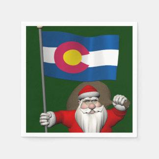 コロラド州の旗を持つサンタクロース スタンダードカクテルナプキン